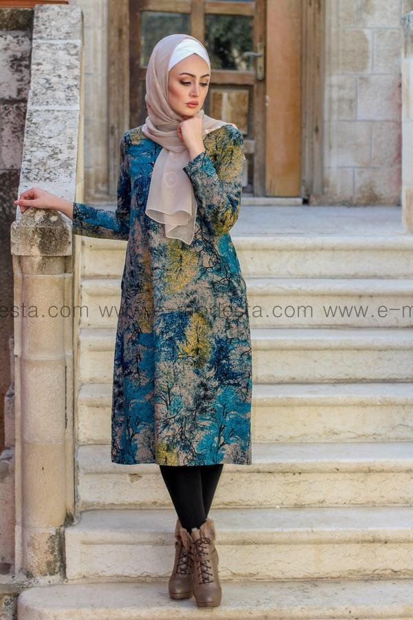 Vintage Long Tunic with Autumn Leaves Print - Blue Colors - E-Modesta