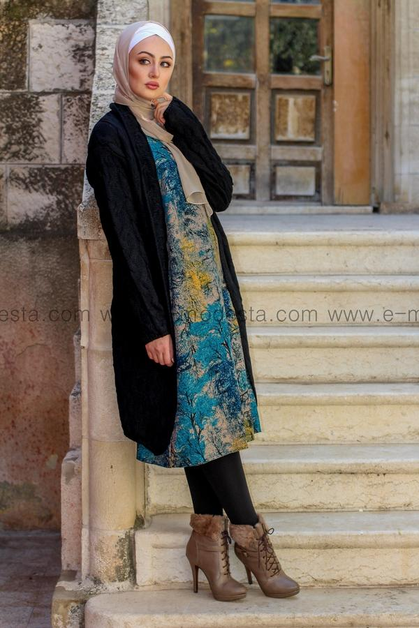 Vintage Long Tunic with Autumn Leaves Print - Blue Colors