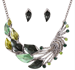Retro colored rhinestone elegant leaves necklace and earrings