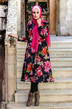 Pink Flowers Winter Dress - with Soft Fur Lining from inside