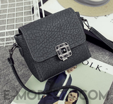 Lock Button Shoulder Small Bag - E-Modesta