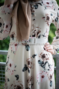 White Maxi Summer Dress | Pink Flowers | Fully Lined from Inside