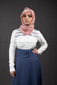 Summer White Shirt | Flowers Embroidery | Blue and Pink