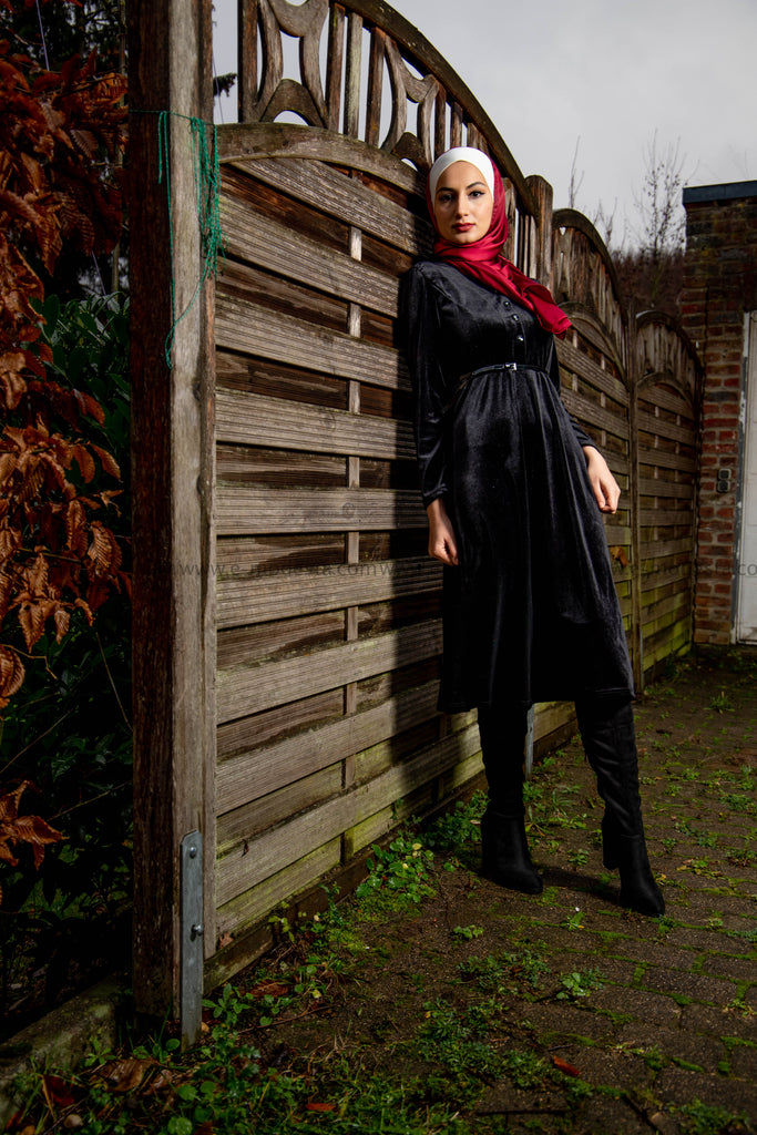 SALE | Women Dress for Winter | Black Velvet | Mid-calf - E-Modesta