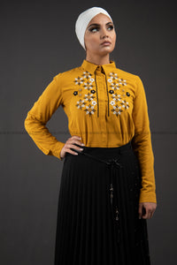 Yellow Mustard Summer Shirt | with Embroidery