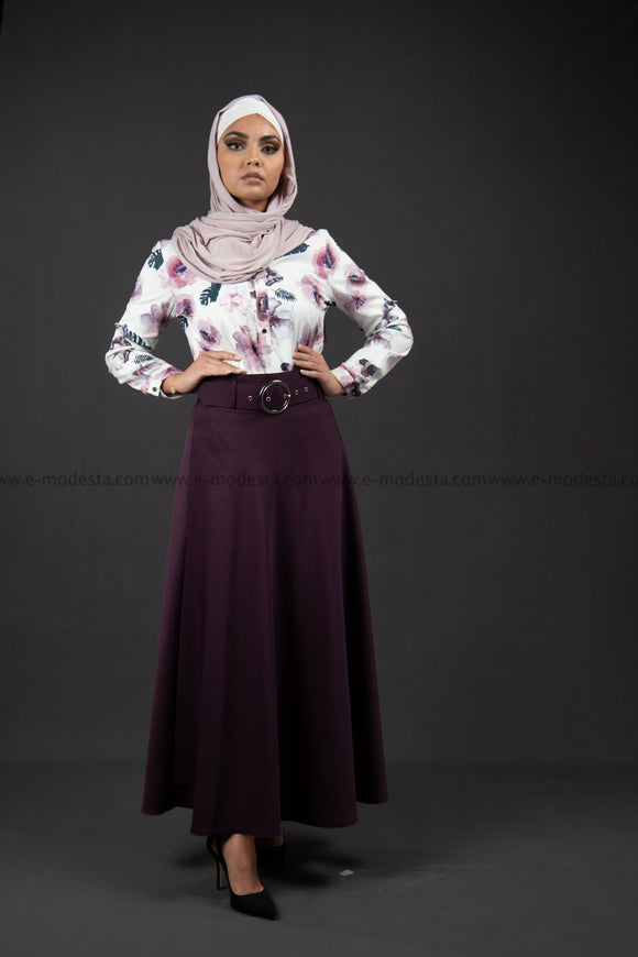 Maxi Summer Skirt | Purple Color | with Belt