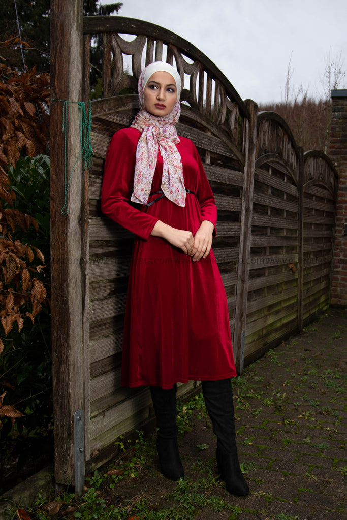 SALE Women Dress for Winter  Red Velvet Mid-calf - E-Modesta
