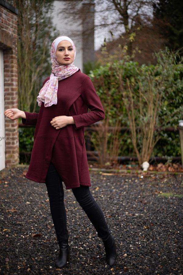 Wool Blouse-Long Tunic-Wine Red Color - E-Modesta