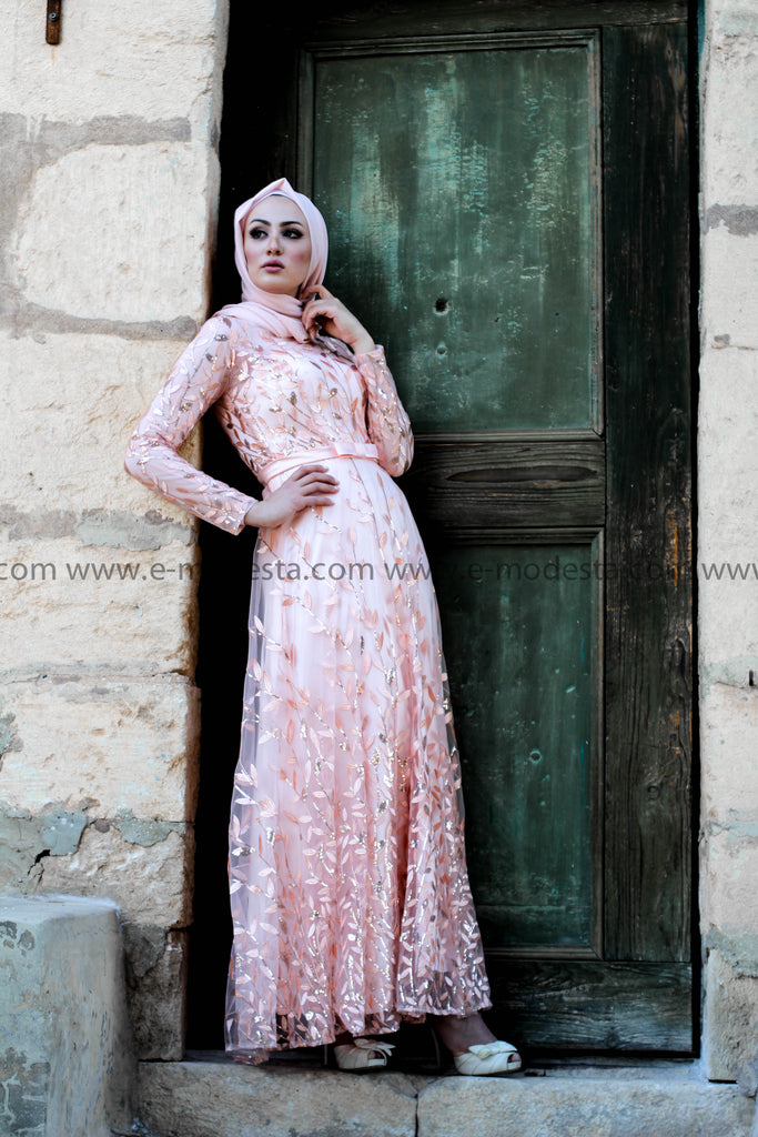 Maxi Evening Dress - Light Pink Color - E-Modesta