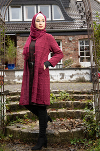 Long Cardigan | Winter Autumn Spring | Wine Red Color | E-Modesta