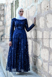 Maxi Evening Dress - Dark Blue Color