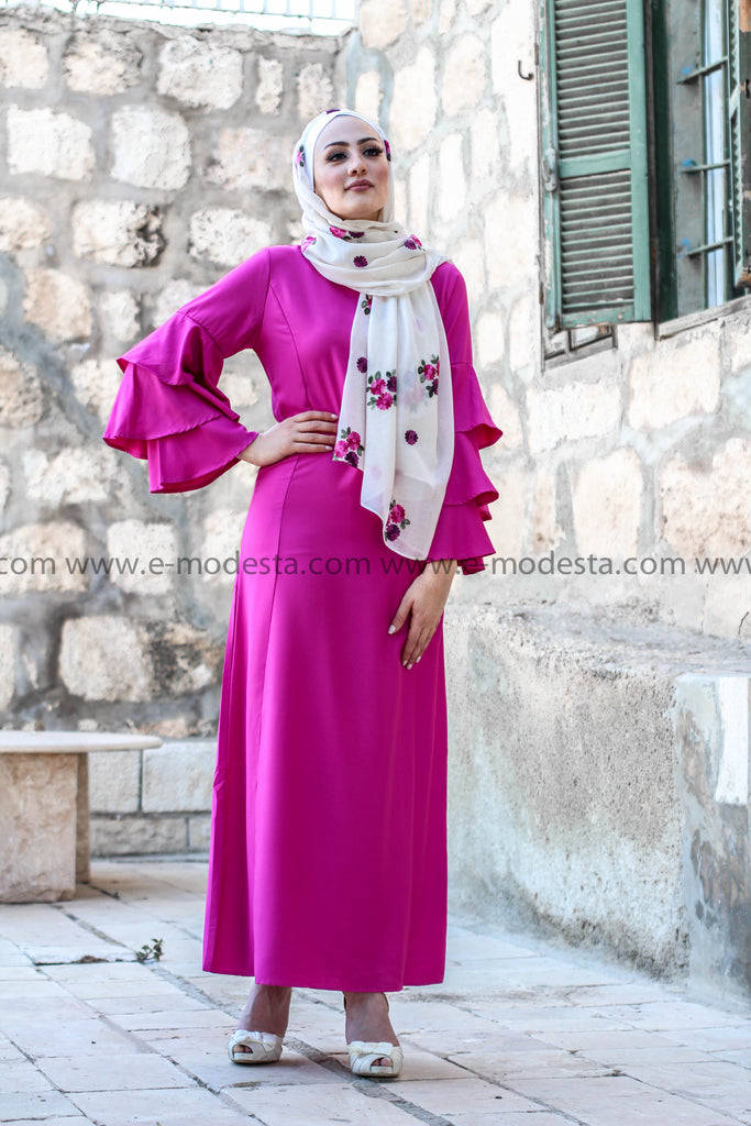 Solid Color Maxi Dress with Ruffled Sleeve