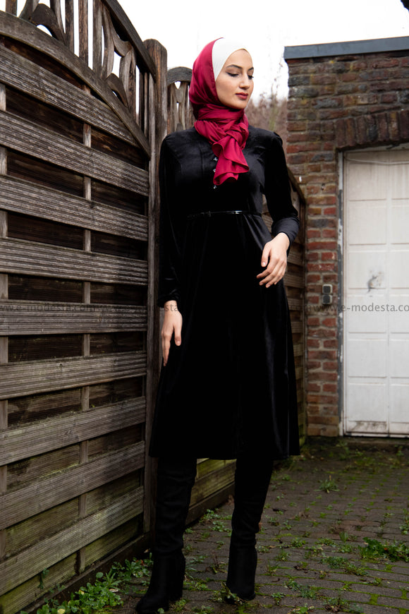 Women Dress for Winter | Black Velvet | Mid-calf | E-Modesta