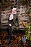 Wool Blouse-Tunic- Olive Green Color - E-Modesta