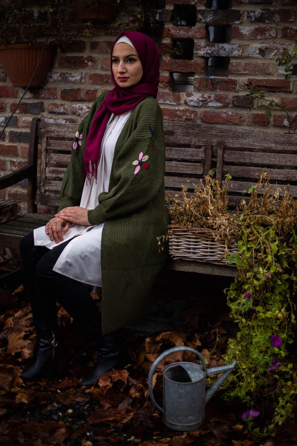 Long Winter Cardigan Wool Material Green Color - E-Modesta