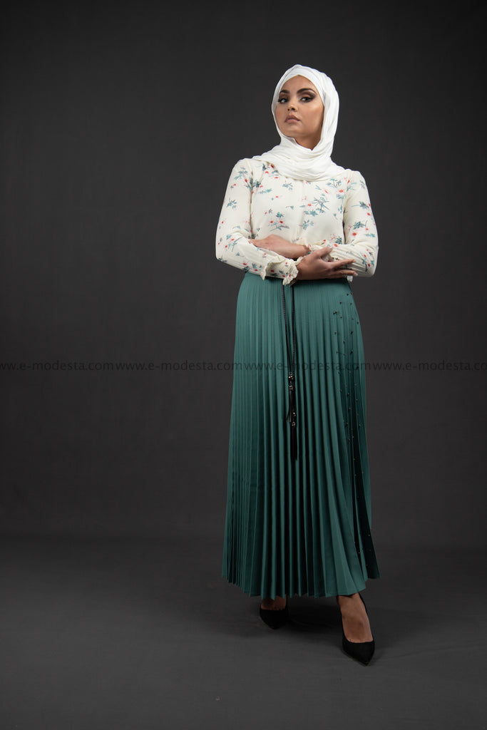 Pleated Maxi Skirt | Teal Blue Color | Pearls on One Side - E-Modesta
