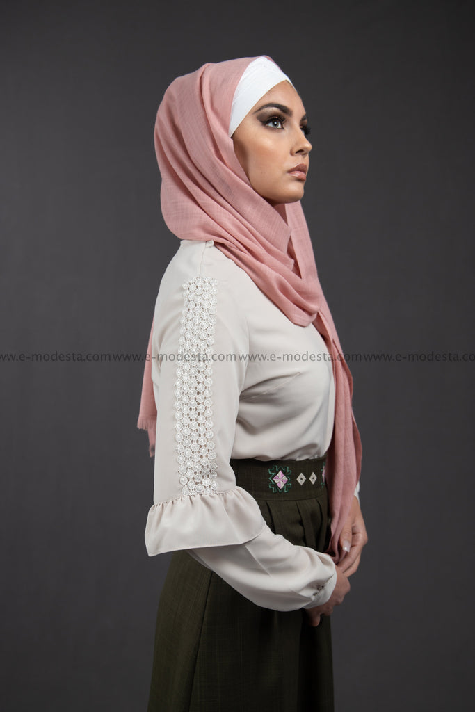 SALE Formal Beige Blouse | Lace on the Sleeves - E-Modesta
