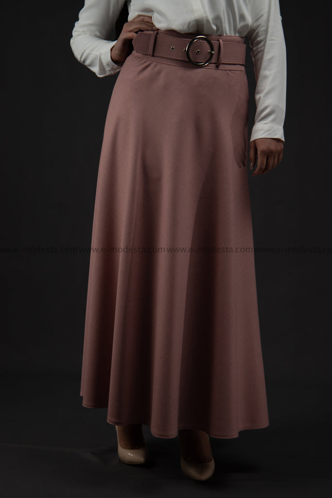 Maxi Summer Skirt | Pink Color | with Belt SALE - E-Modesta
