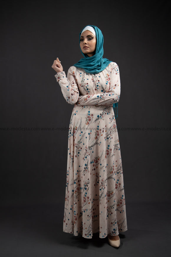 Elegant Maxi Summer Dress | Blue Dots Pattern | Fully Lined from Inside