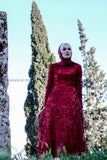 Fancy Highly Elegant Wine Red Evening Dress - E-Modesta