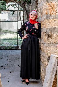 Maxi Black Dress with Embroidery Top