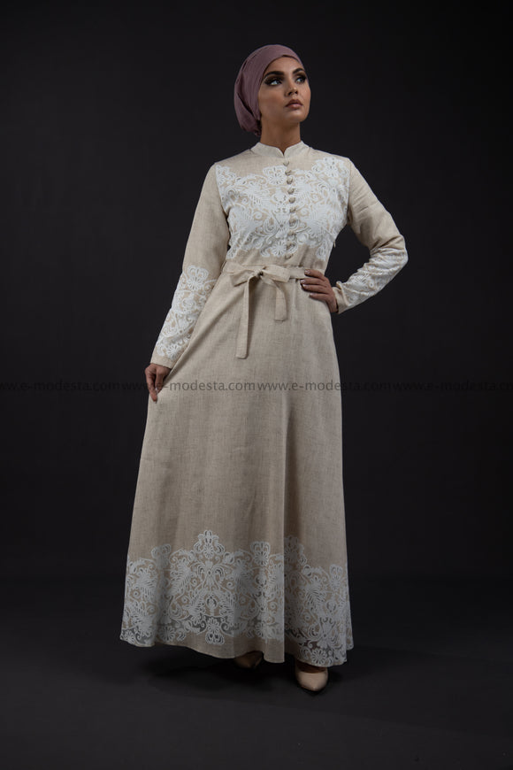 SALE Elegant Summer Maxi Dress | Beige Color | with White Lace
