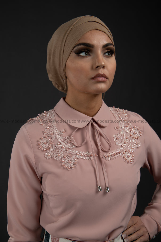 SALE Formal Pink Blouse | Lace & Pearls on the Shoulders - E-Modesta
