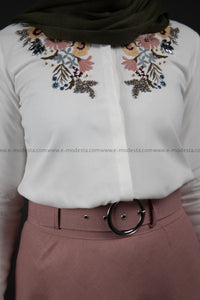 Embroidery White Shirt | Flowers Pattern | Pink Match