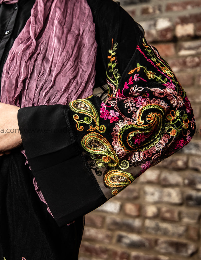 Elegant Black Chiffon Cardigan | Colorful Embroidery - E-Modesta