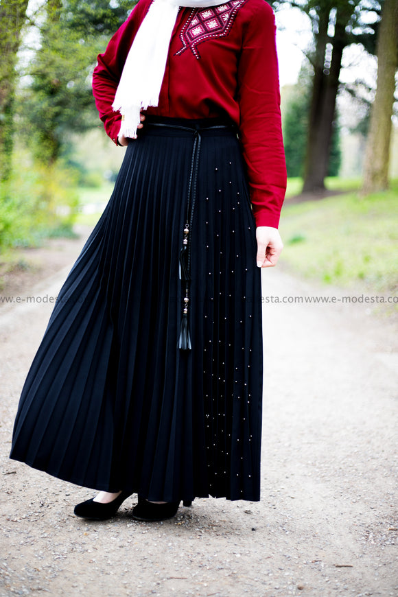 SALE Pleated Maxi Skirt | Black Color | Pearls on One Side