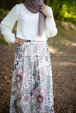 Maxi Floral Skirt | Pink & Purple | Lined from Inside - E-Modesta