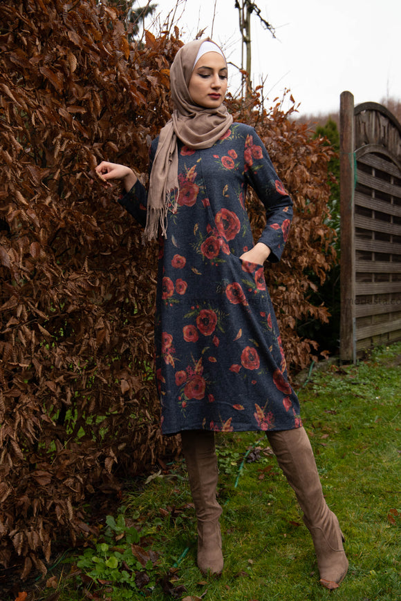 Winter Dress | Vintage Floral Print |Hijab Dress|Hijab tunic E-Modesta