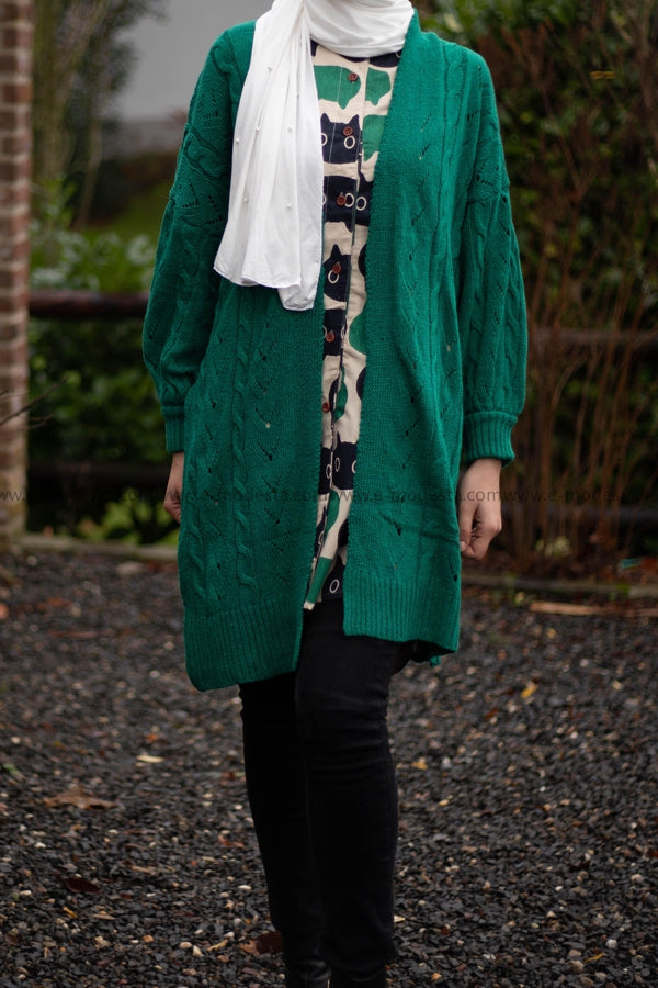 Long Cardigan - Green Color - E-Modesta
