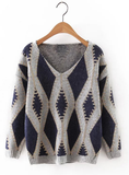 V-neck loose knitted sweater