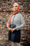 Casual Hoodie | Denim & Striped - E-Modesta