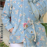 Floral jeans cute jacket with hood