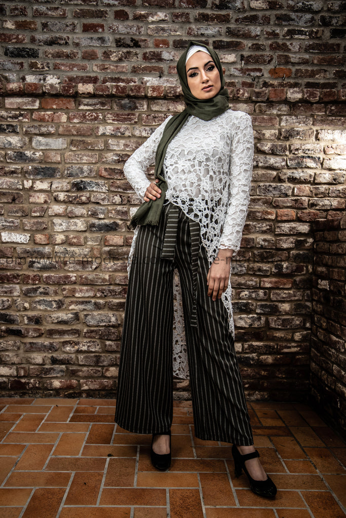 Wide Leg Striped Pants | Green Color - E-Modesta