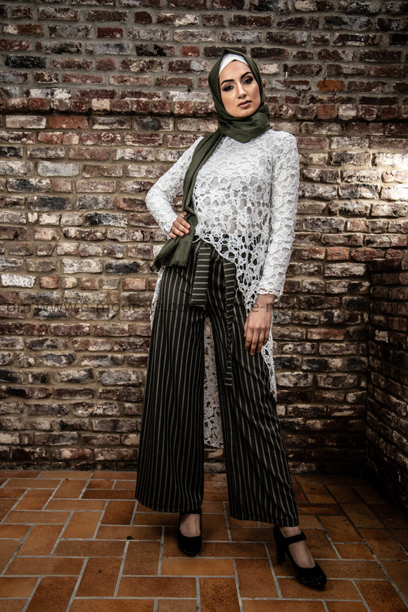 Wide Leg Striped Pants | Green Color