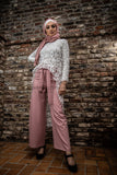 Wide Leg Striped Pants | Pink Color - E-Modesta