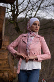 Leather Short Jacket - Pink Color - E-Modesta