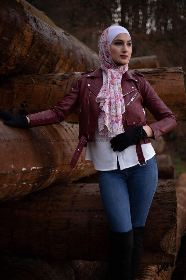 Leather Short Jacket - Wine Red Color - E-Modesta