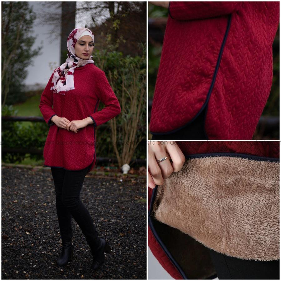 Winter Top Fur Inside-Red Color - E-Modesta