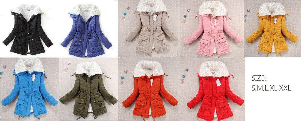 Winter jacket with fur - candy colors - E-Modesta