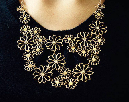 Multilayer golden color hollow flowers necklace