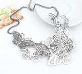 Butterfly silver color necklace - E-Modesta