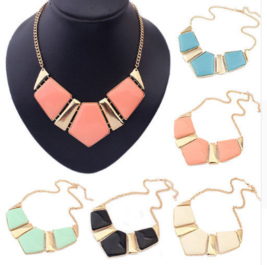 Gem-stone geometric statement necklace