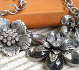 Retro Rhinestone Crystal Petal Silver Flower Necklace