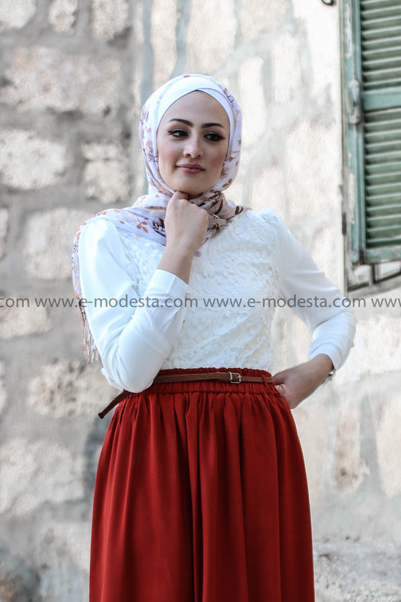 Brick Red Skirt & White Lace Blouse