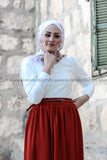 Brick Red Skirt & White Lace Blouse - E-Modesta