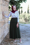 Simple Casual Skirt with Belt - Green